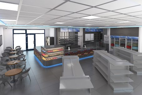 Visualization of the interior of the petrol station shop